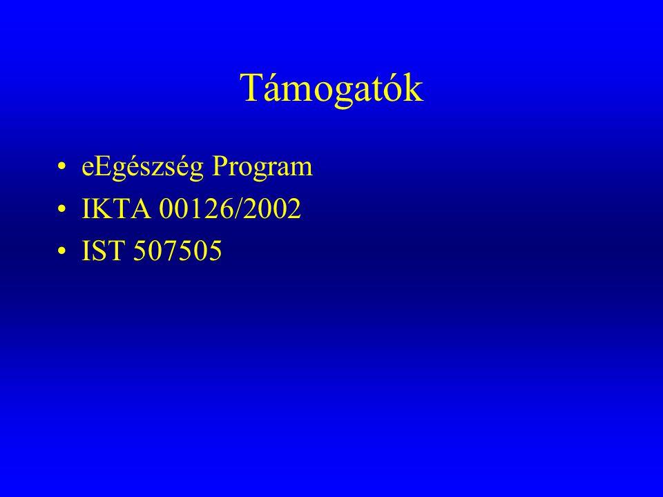 Támogatók eEgészség Program IKTA 00126/2002 IST 507505