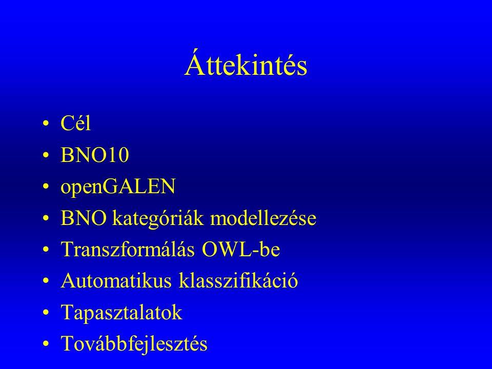 Áttekintés Cél BNO10 openGALEN BNO kategóriák modellezése