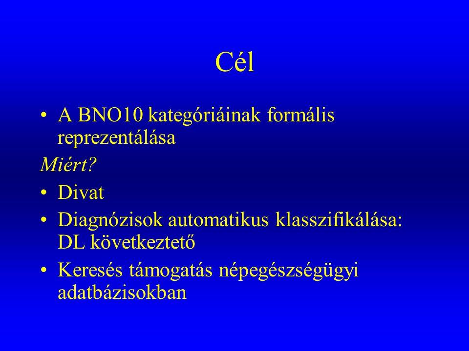 Cél A BNO10 kategóriáinak formális reprezentálása Miért Divat