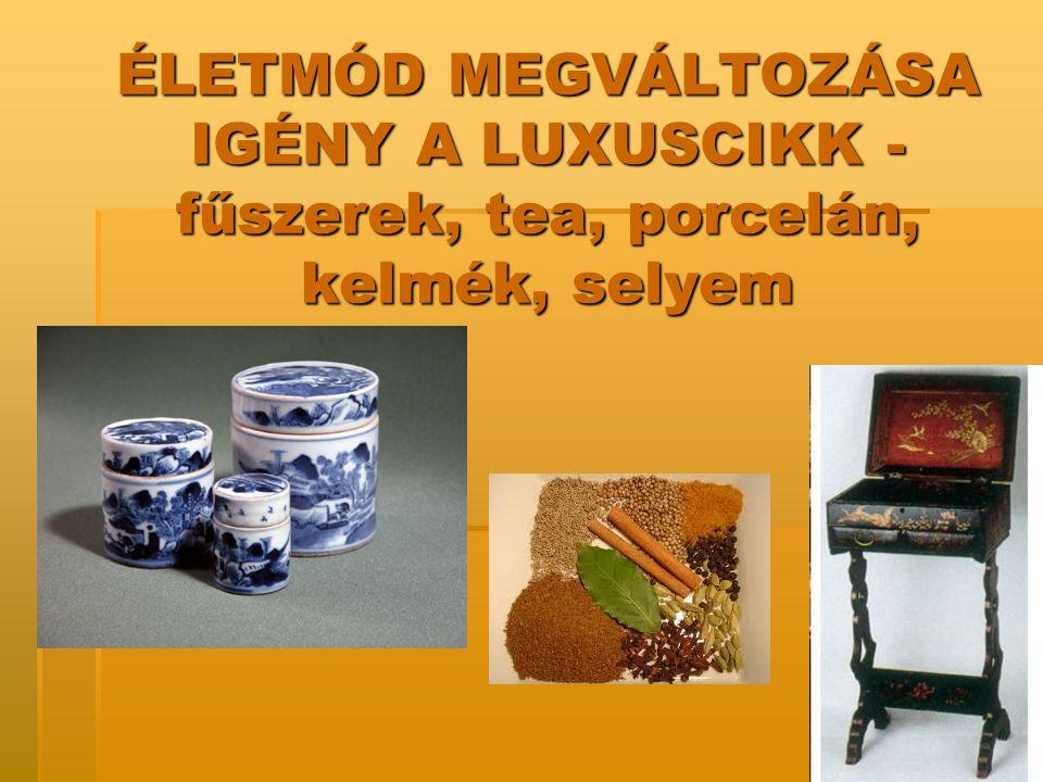 ÉLETMÓD MEGVÁLTOZÁSA IGÉNY A LUXUSCIKK -fűszerek, tea, porcelán, kelmék, selyem