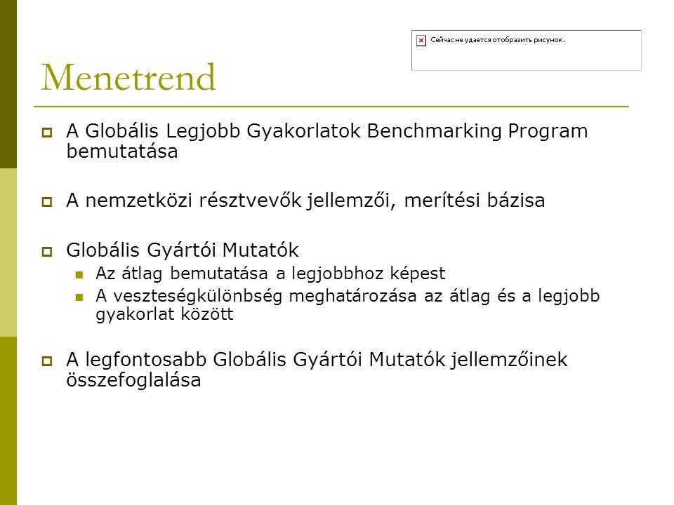 Menetrend A Globális Legjobb Gyakorlatok Benchmarking Program bemutatása. A nemzetközi résztvevők jellemzői, merítési bázisa.
