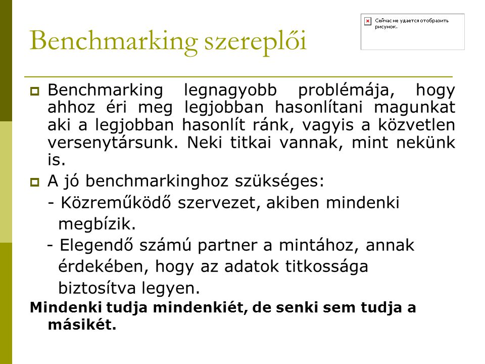 Benchmarking szereplői