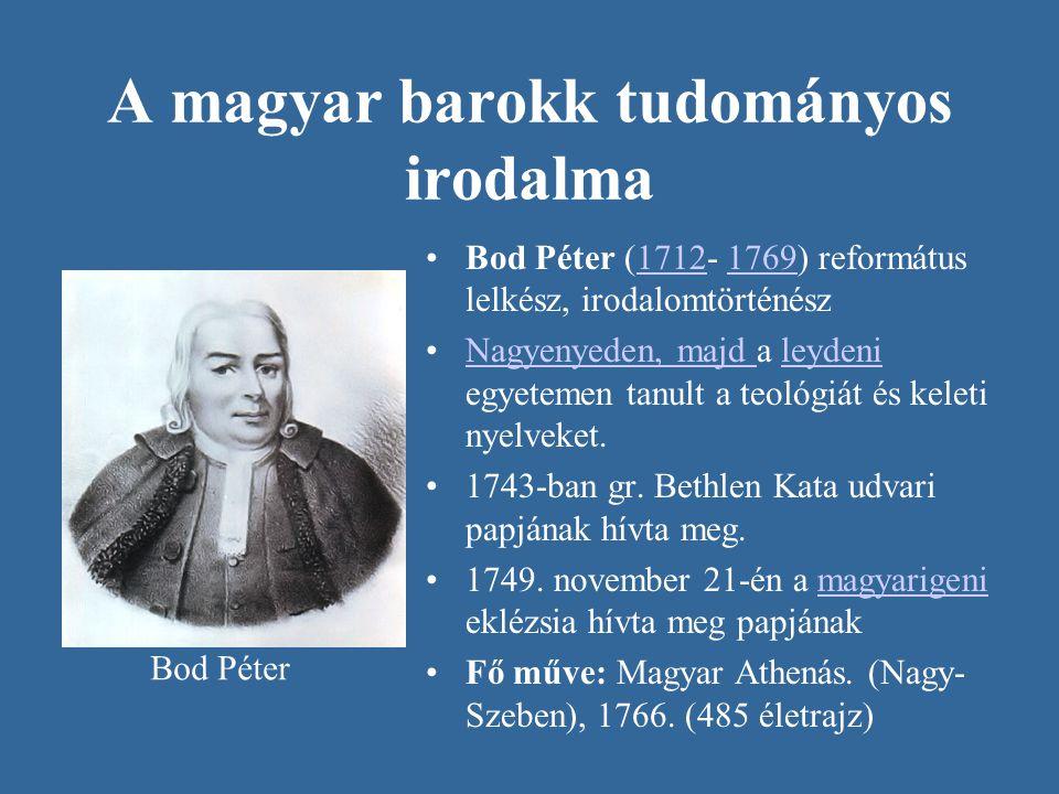 A magyar barokk tudományos irodalma