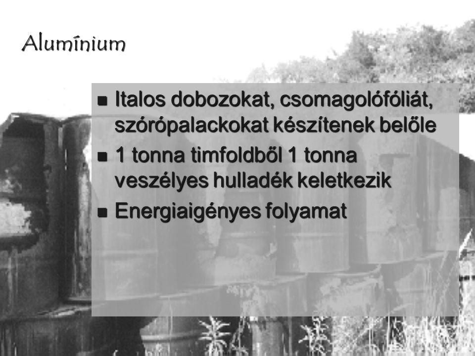 Alumínium Italos dobozokat, csomagolófóliát, szórópalackokat készítenek belőle. 1 tonna timfoldből 1 tonna veszélyes hulladék keletkezik.