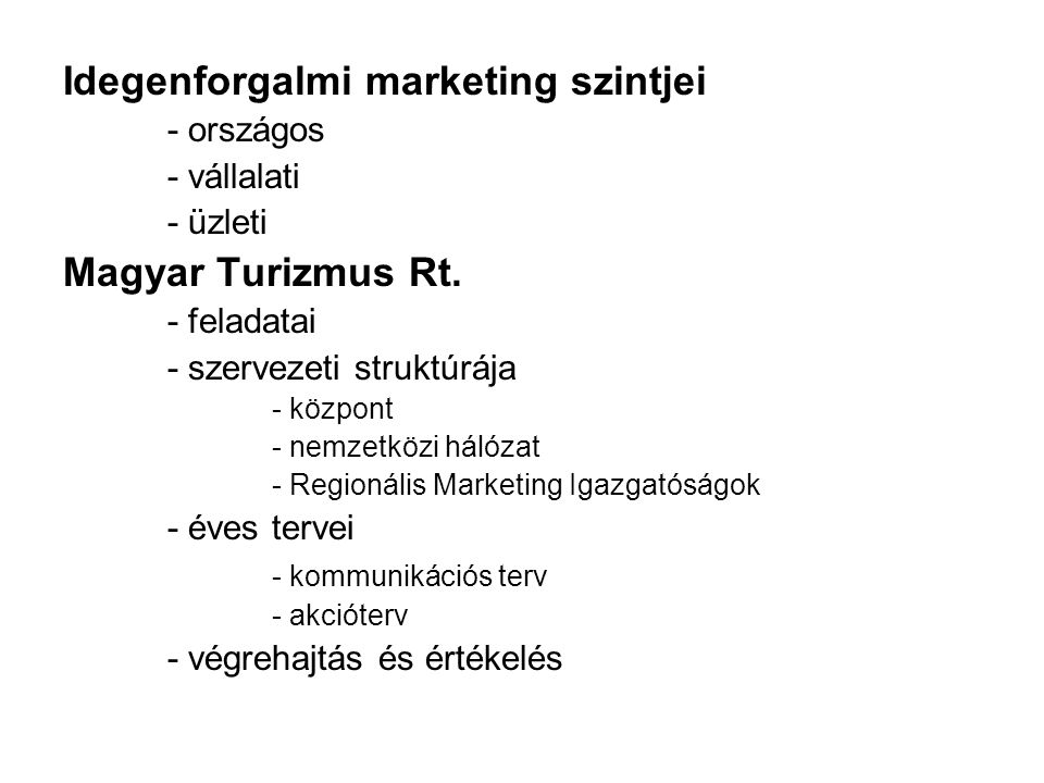 Idegenforgalmi marketing szintjei