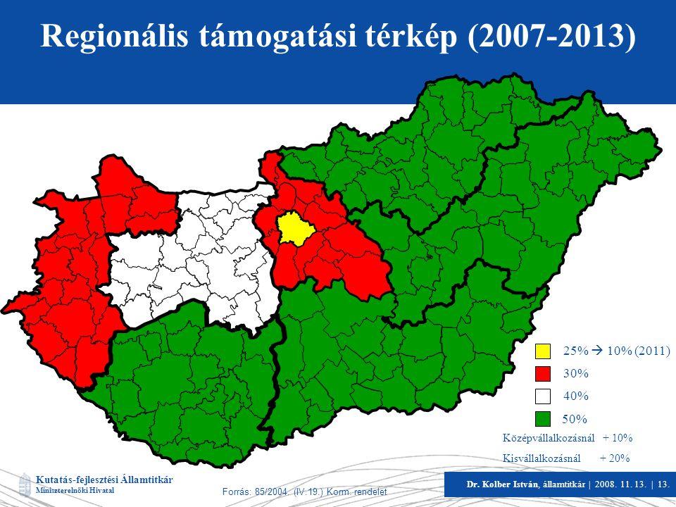 Regionális támogatási térkép (2007-2013)