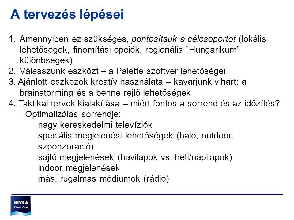 A tervezés lépései Amennyiben ez szükséges, pontosítsuk a célcsoportot (lokális lehetőségek, finomítási opciók, regionális Hungarikum különbségek)