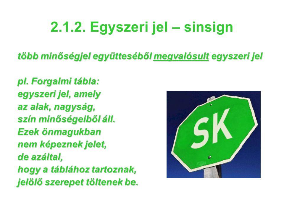 2.1.2. Egyszeri jel – sinsign több minőségjel együtteséből megvalósult egyszeri jel. pl. Forgalmi tábla: