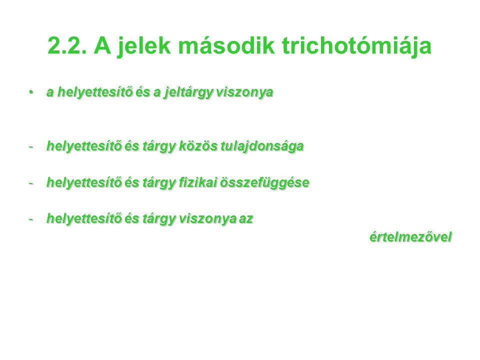 2.2. A jelek második trichotómiája