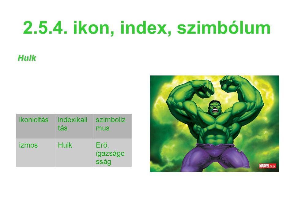 2.5.4. ikon, index, szimbólum Hulk ikonicitás indexikalitás