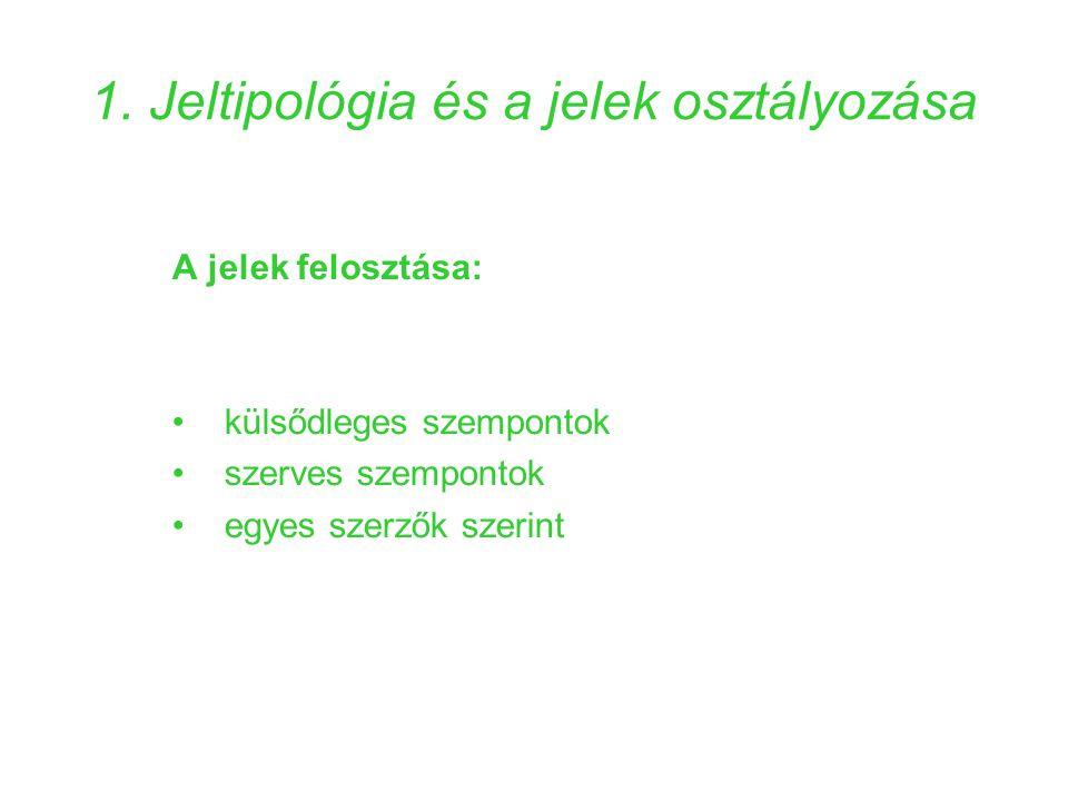 1. Jeltipológia és a jelek osztályozása