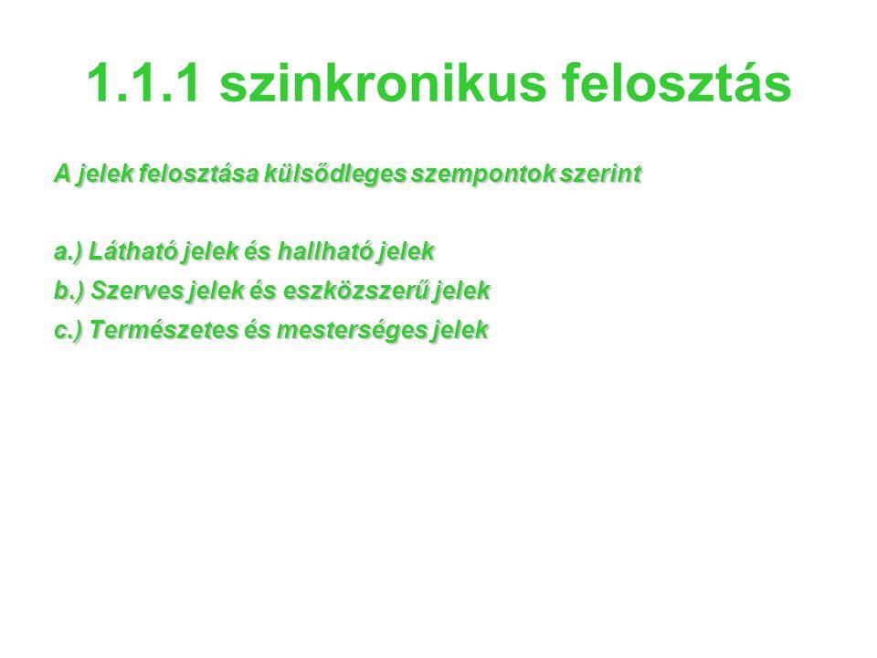 1.1.1 szinkronikus felosztás