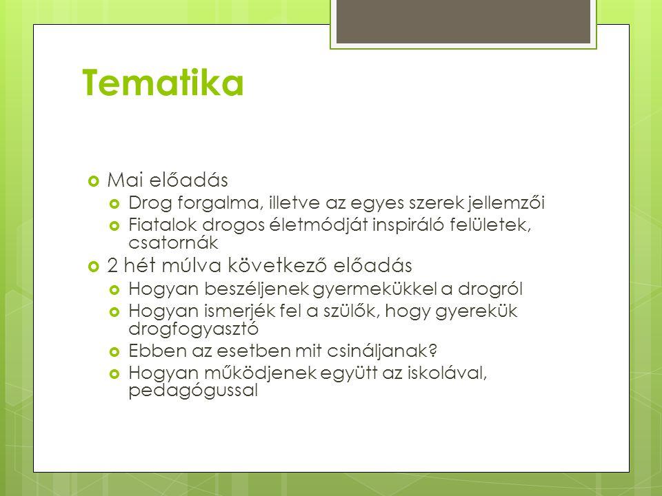 Tematika Mai előadás 2 hét múlva következő előadás
