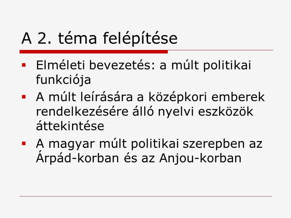 A 2. téma felépítése Elméleti bevezetés: a múlt politikai funkciója