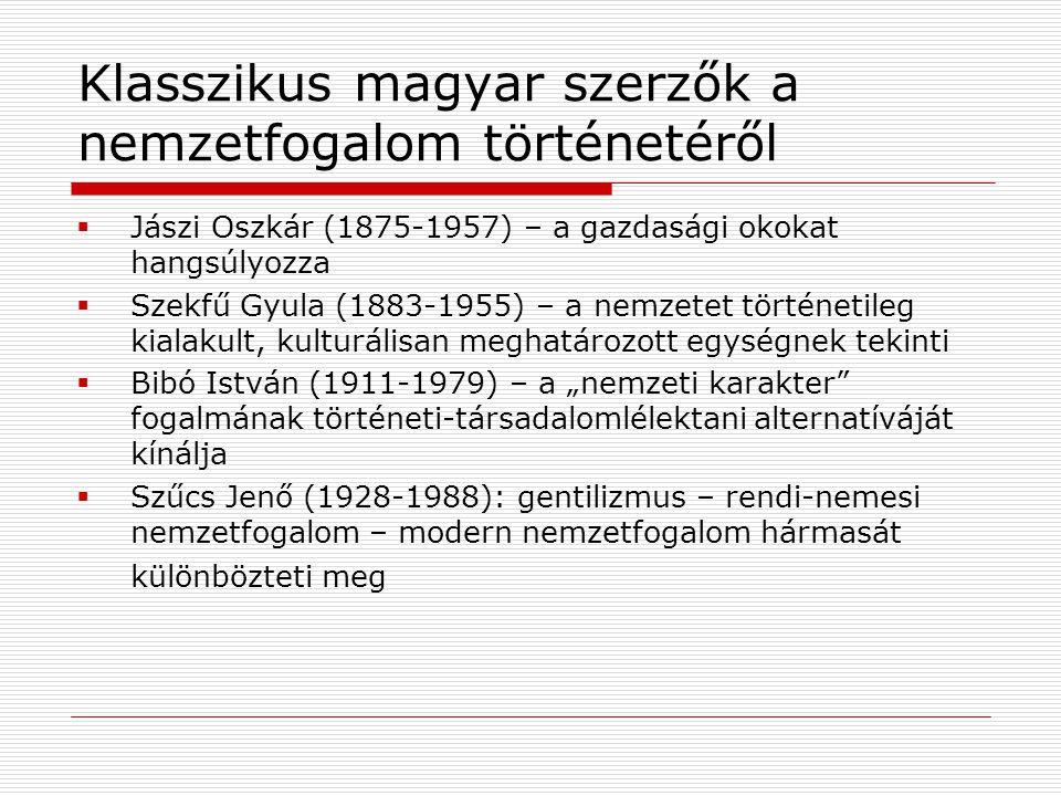 Klasszikus magyar szerzők a nemzetfogalom történetéről