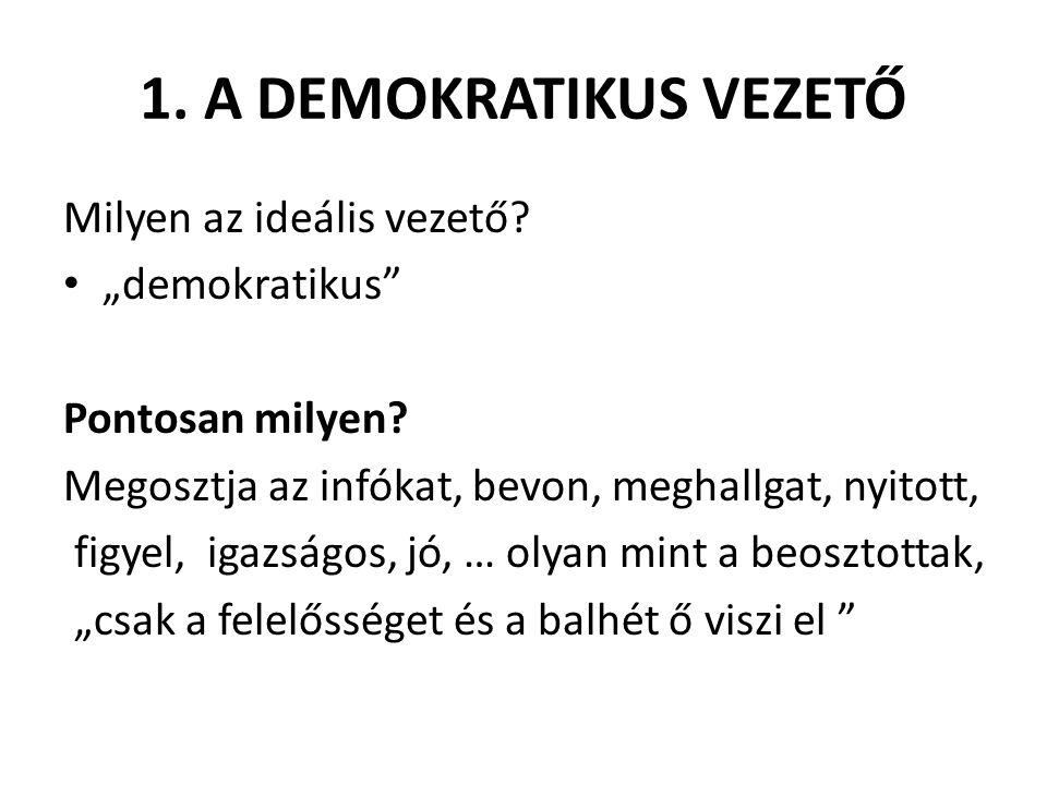 """1. A DEMOKRATIKUS VEZETŐ Milyen az ideális vezető """"demokratikus"""