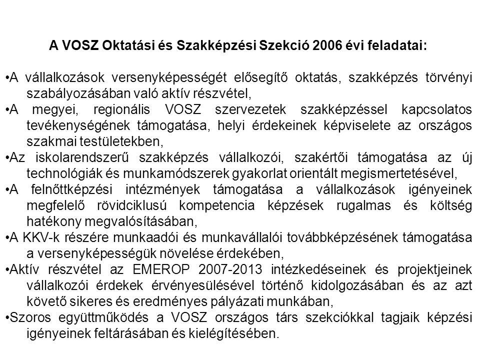 A VOSZ Oktatási és Szakképzési Szekció 2006 évi feladatai: