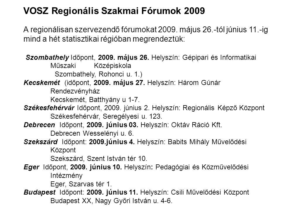 VOSZ Regionális Szakmai Fórumok 2009