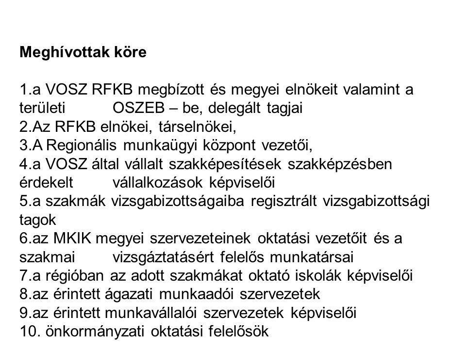 Meghívottak köre a VOSZ RFKB megbízott és megyei elnökeit valamint a területi OSZEB – be, delegált tagjai.