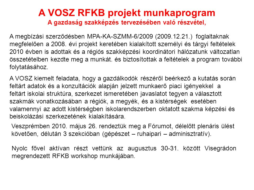 A VOSZ RFKB projekt munkaprogram