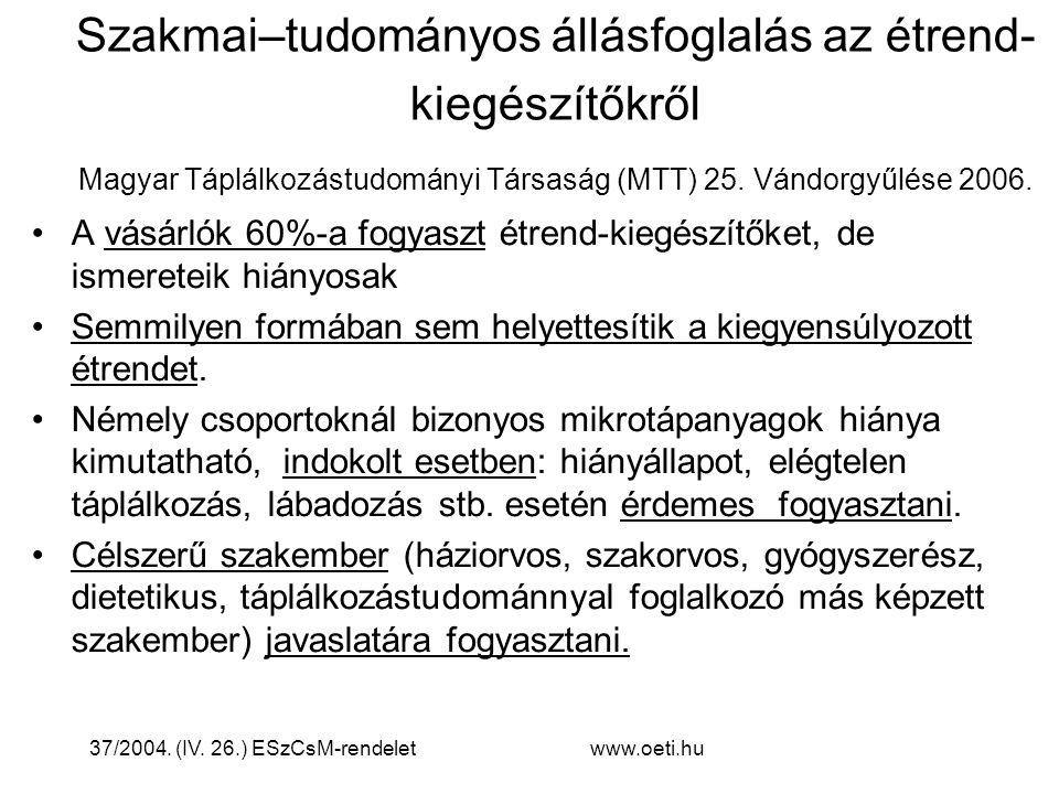Szakmai–tudományos állásfoglalás az étrend-kiegészítőkről Magyar Táplálkozástudományi Társaság (MTT) 25. Vándorgyűlése 2006.