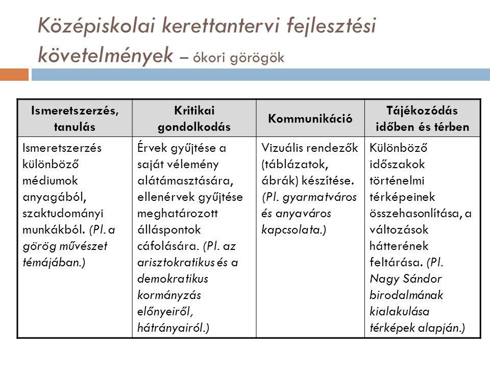 Középiskolai kerettantervi fejlesztési követelmények – ókori görögök