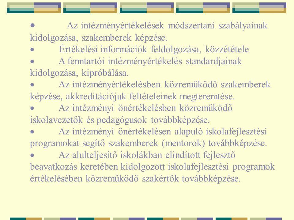 · Az intézményértékelések módszertani szabályainak kidolgozása, szakemberek képzése.