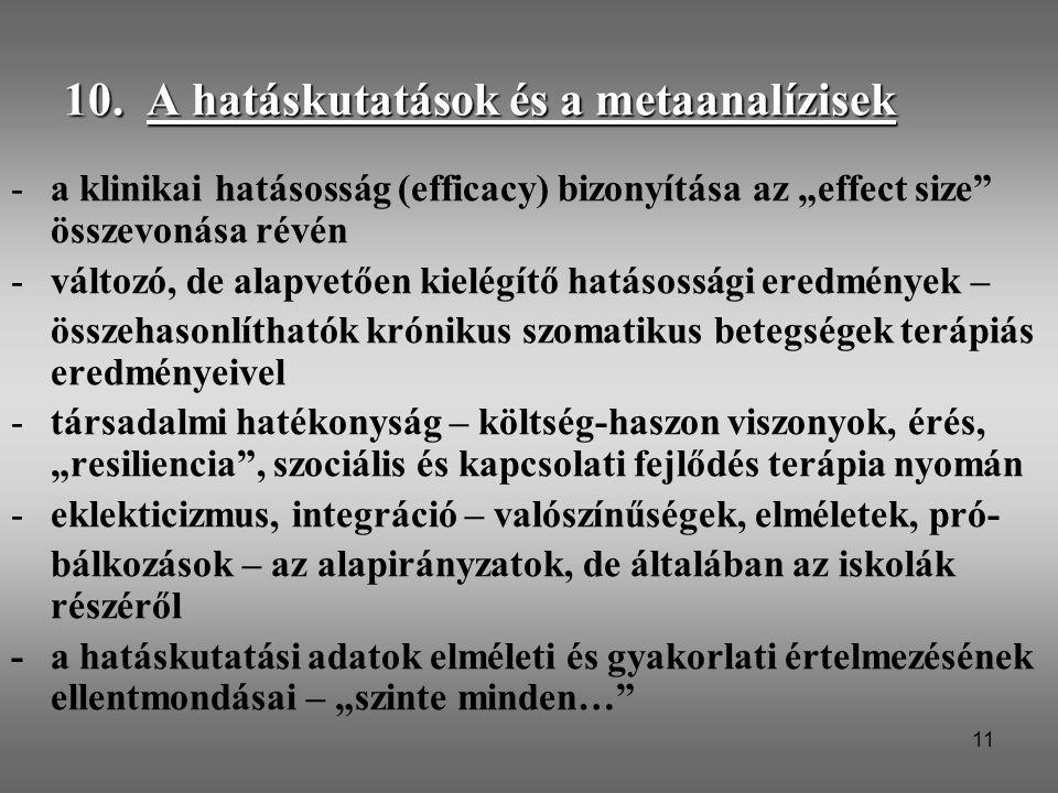 10. A hatáskutatások és a metaanalízisek