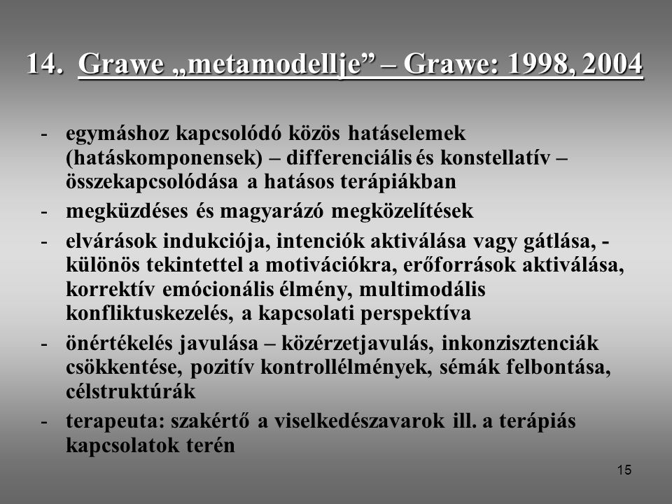 "14. Grawe ""metamodellje – Grawe: 1998, 2004"