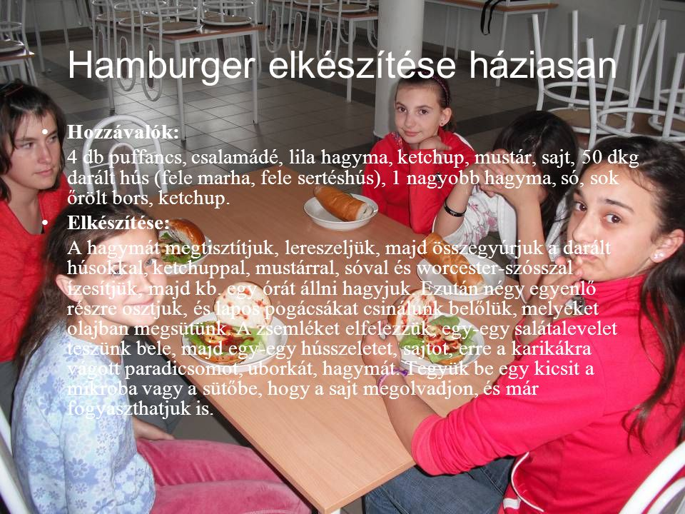 Hamburger elkészítése háziasan