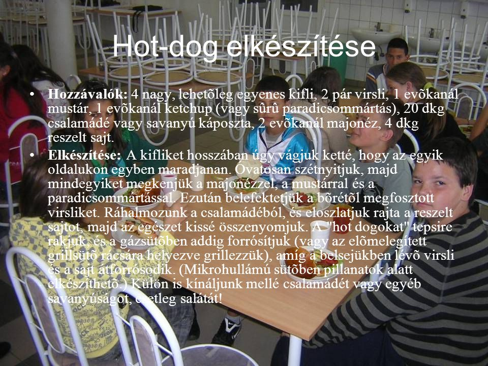 Hot-dog elkészítése