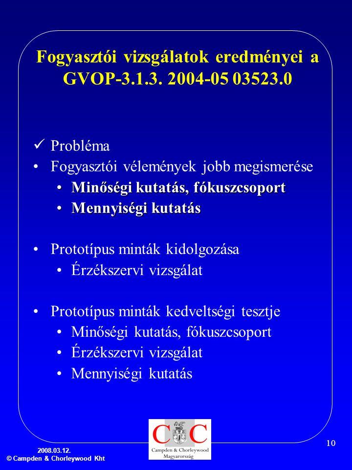 Fogyasztói vizsgálatok eredményei a GVOP-3.1.3. 2004-05 03523.0