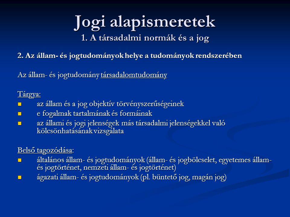 Jogi alapismeretek 1. A társadalmi normák és a jog