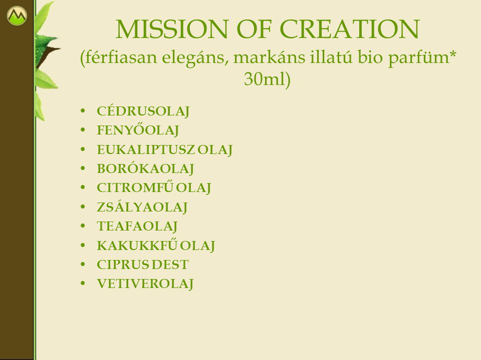 MISSION OF CREATION (férfiasan elegáns, markáns illatú bio parfüm