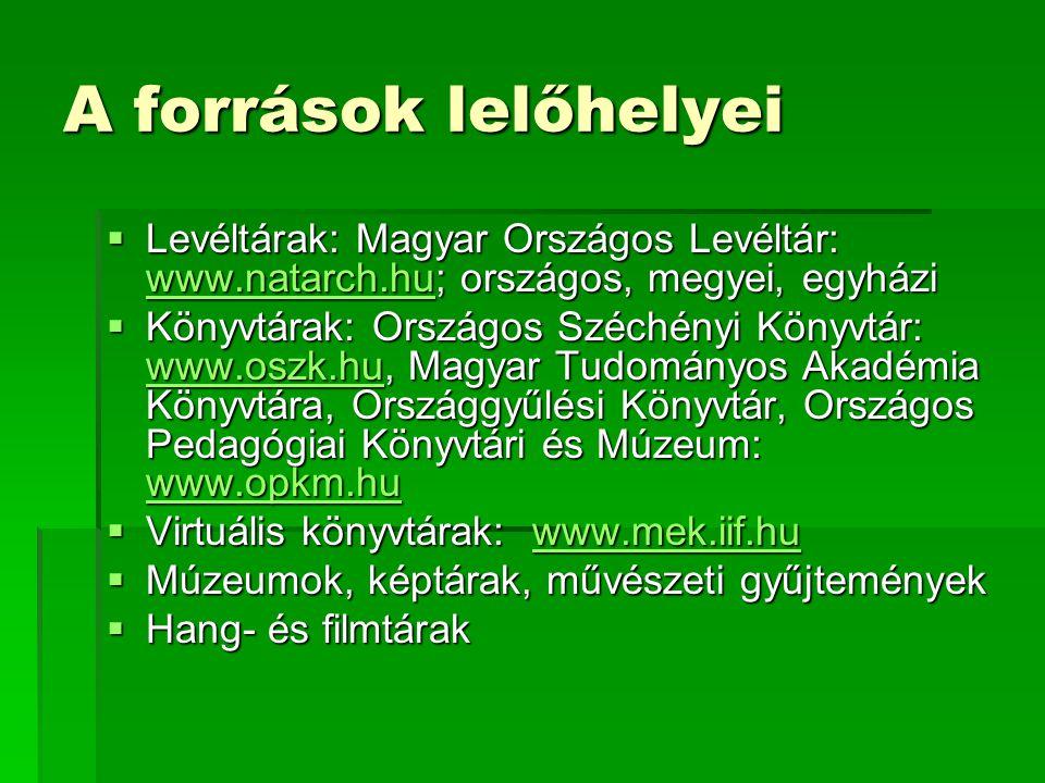 A források lelőhelyei Levéltárak: Magyar Országos Levéltár: www.natarch.hu; országos, megyei, egyházi.