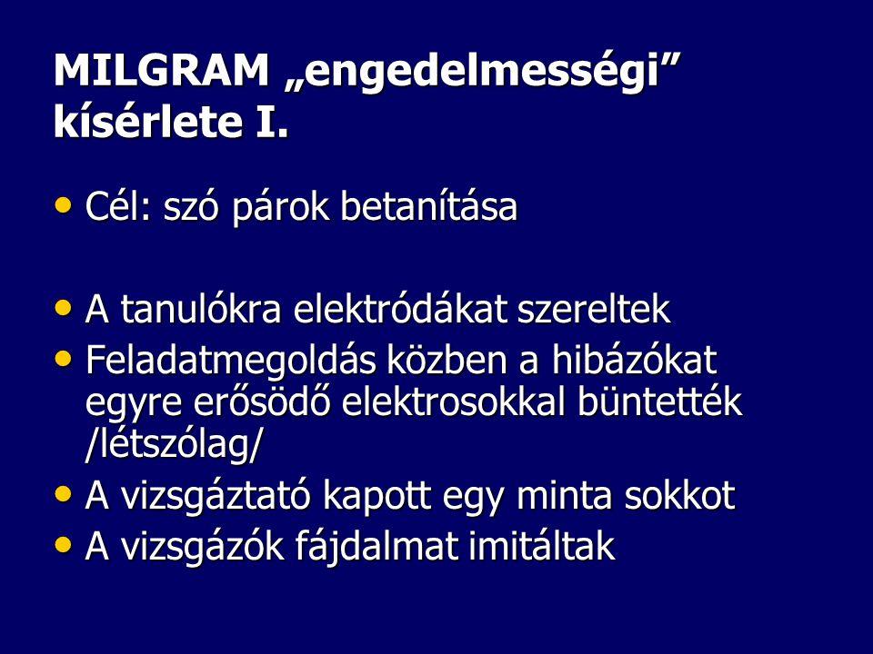 """MILGRAM """"engedelmességi kísérlete I."""