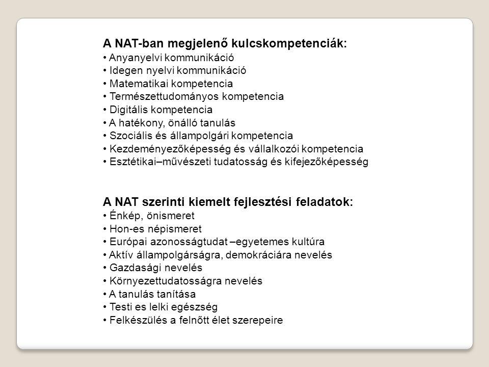 A NAT-ban megjelenő kulcskompetenciák: