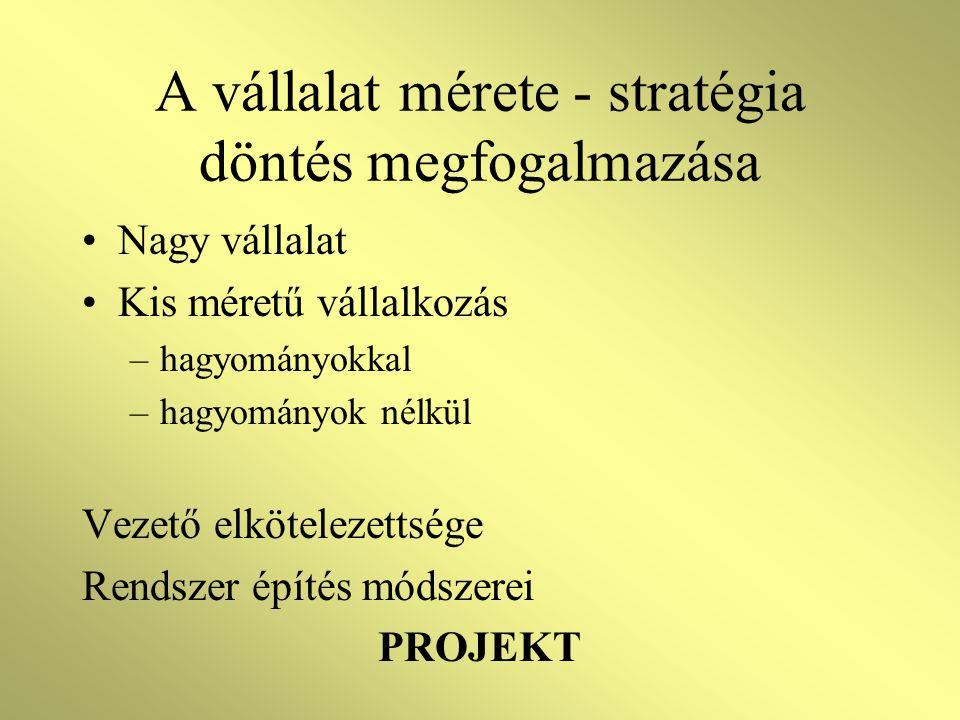 A vállalat mérete - stratégia döntés megfogalmazása