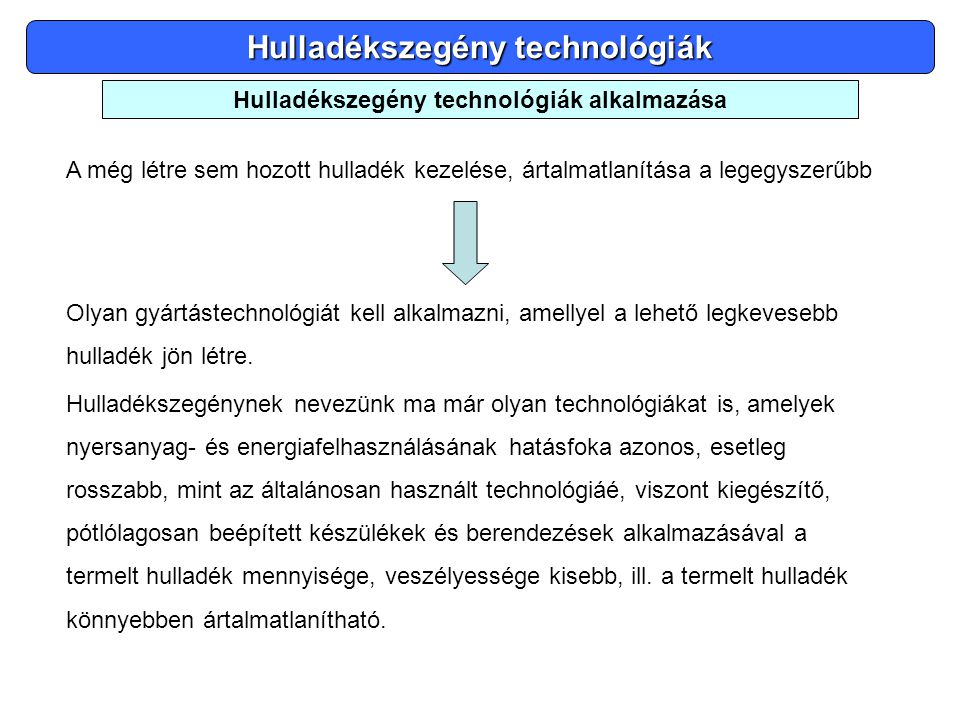 Hulladékszegény technológiák Hulladékszegény technológiák alkalmazása