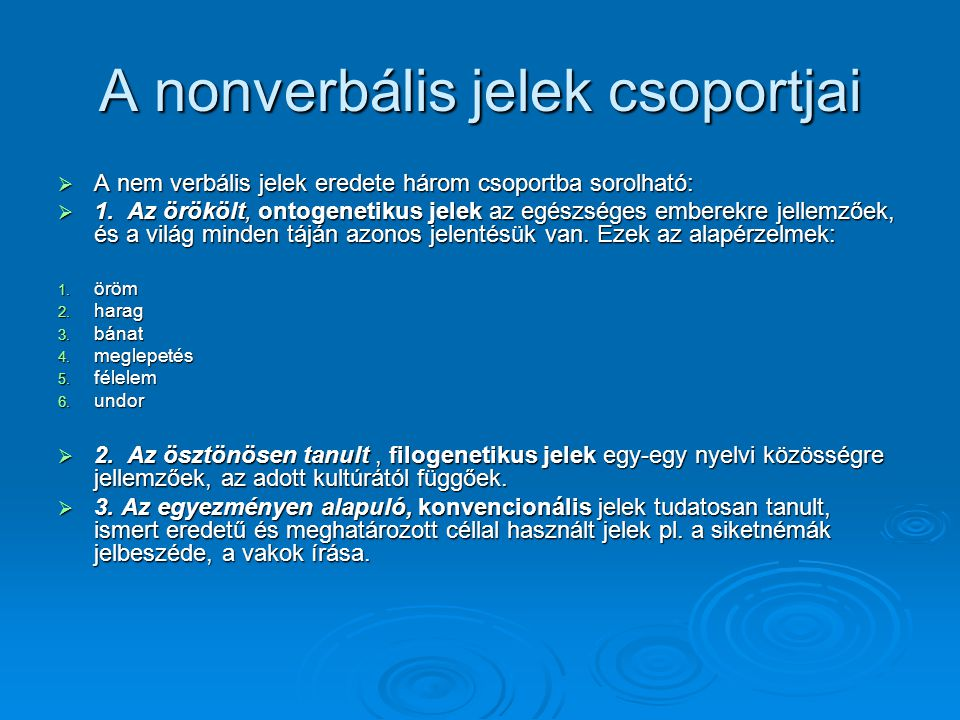 A nonverbális jelek csoportjai
