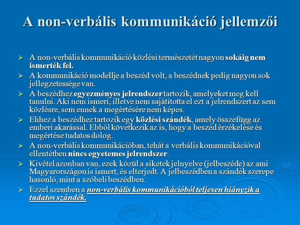 A non-verbális kommunikáció jellemzői
