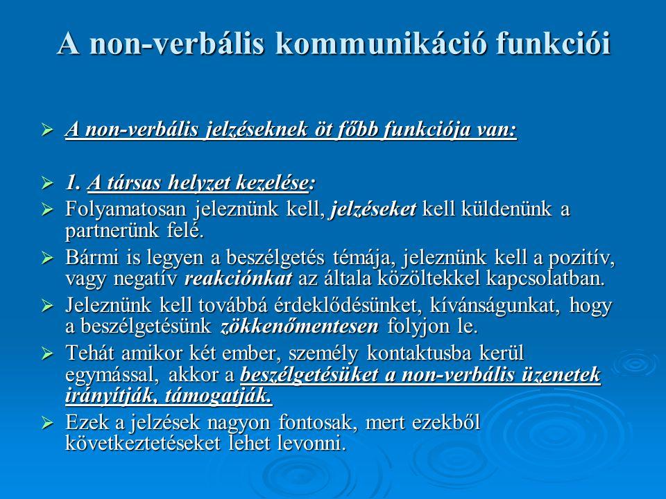 A non-verbális kommunikáció funkciói