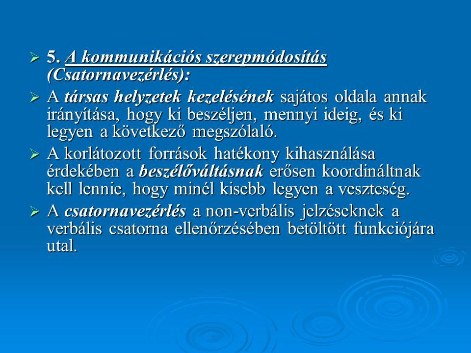 5. A kommunikációs szerepmódosítás (Csatornavezérlés):