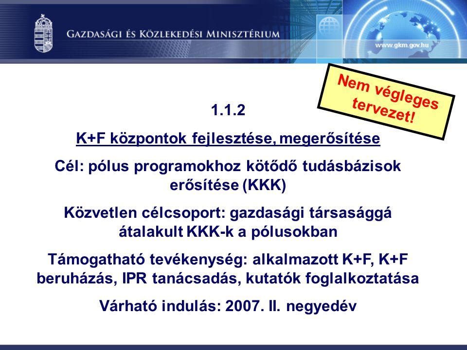 K+F központok fejlesztése, megerősítése