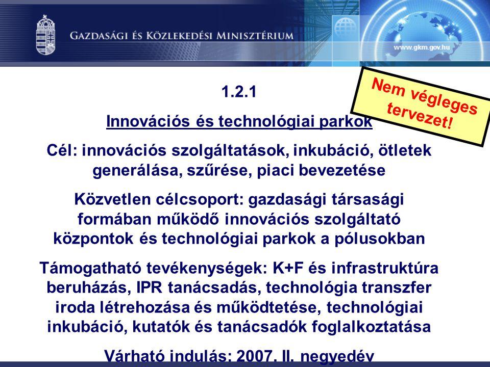 Innovációs és technológiai parkok Várható indulás: 2007. II. negyedév