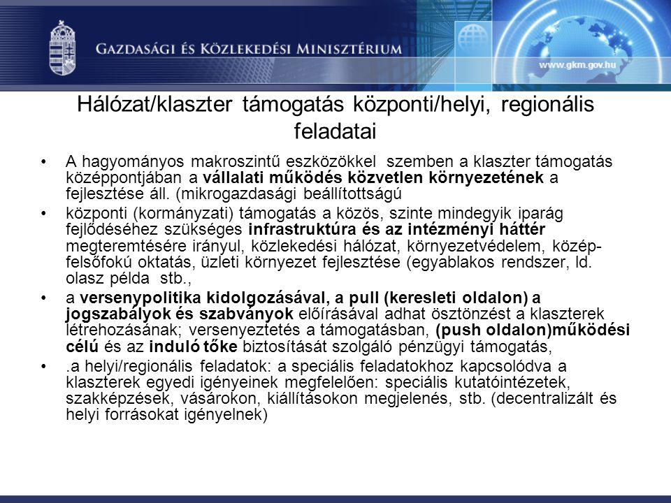 Hálózat/klaszter támogatás központi/helyi, regionális feladatai