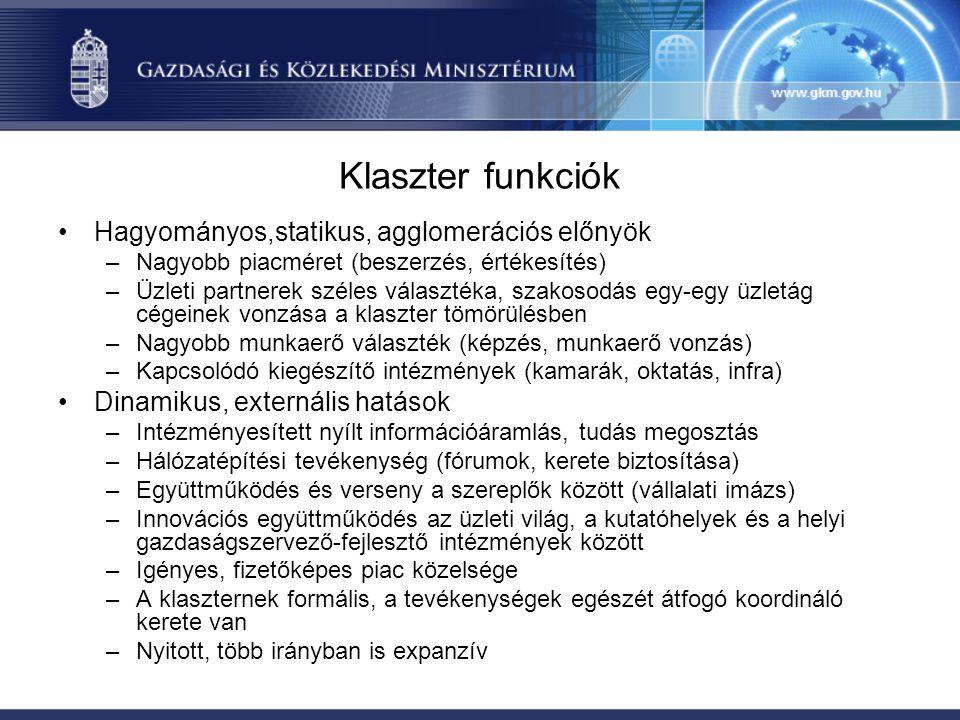 Klaszter funkciók Hagyományos,statikus, agglomerációs előnyök