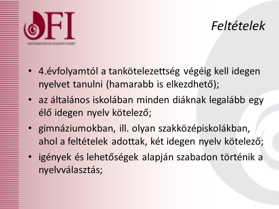 Feltételek 4.évfolyamtól a tankötelezettség végéig kell idegen nyelvet tanulni (hamarabb is elkezdhető);
