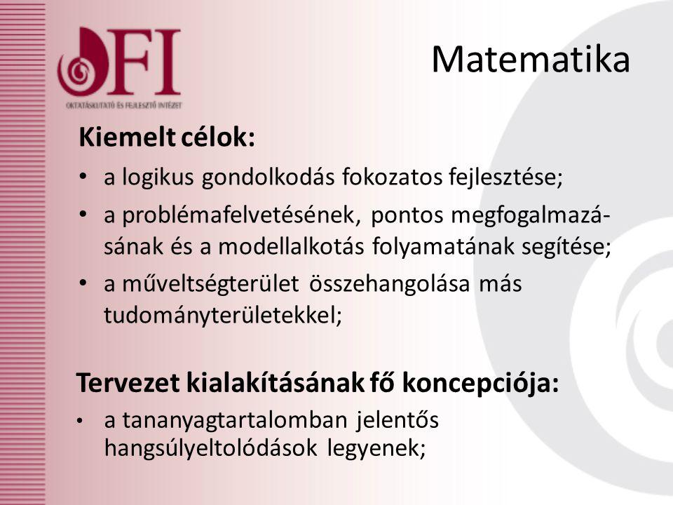 Matematika Kiemelt célok: Tervezet kialakításának fő koncepciója: