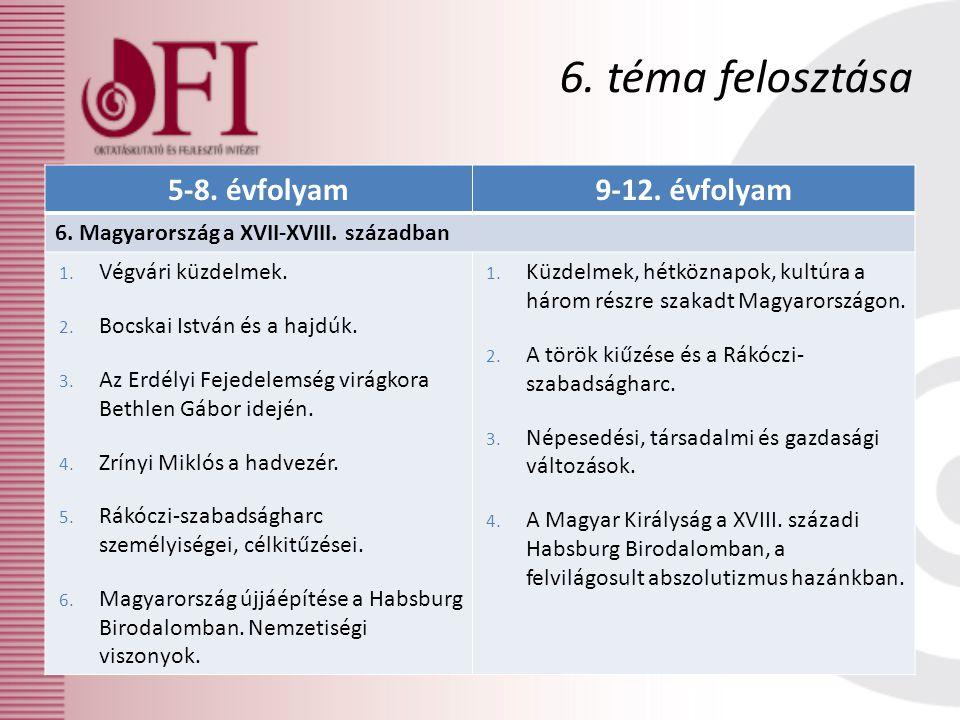 6. téma felosztása 5-8. évfolyam 9-12. évfolyam